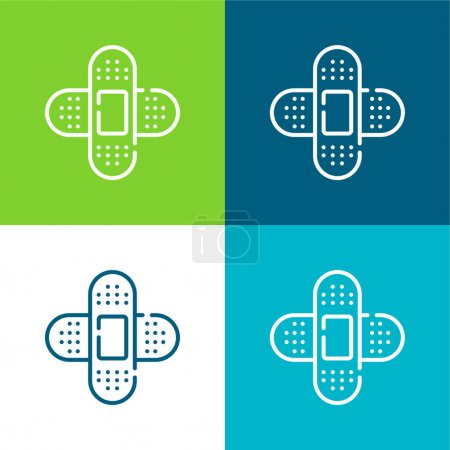 Illustration for Band Aid Flat four color minimal icon set - Royalty Free Image