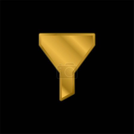 Big Funnel gold plated metalic icon or logo vector