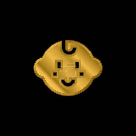 Illustration pour Bébé Enfant plaqué or icône métallique ou logo vecteur - image libre de droit
