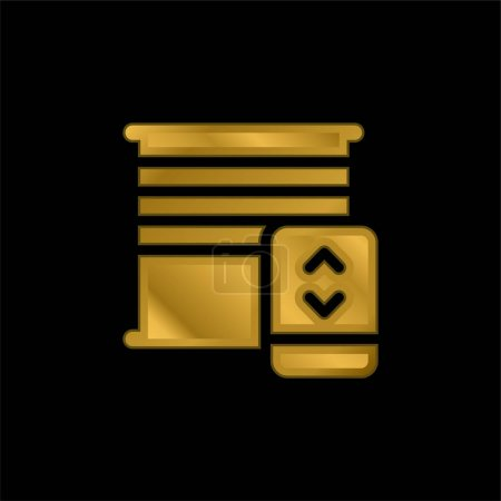 Illustration for Blinds gold plated metalic icon or logo vector - Royalty Free Image