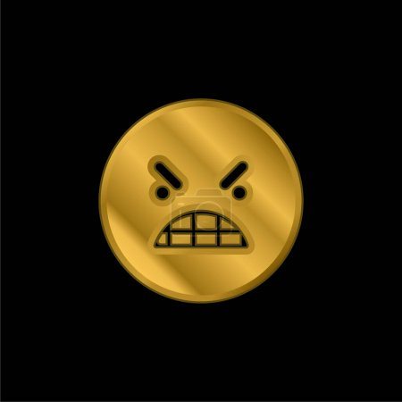 Illustration pour Colère émoticône carré visage plaqué or icône métallique ou logo vecteur - image libre de droit