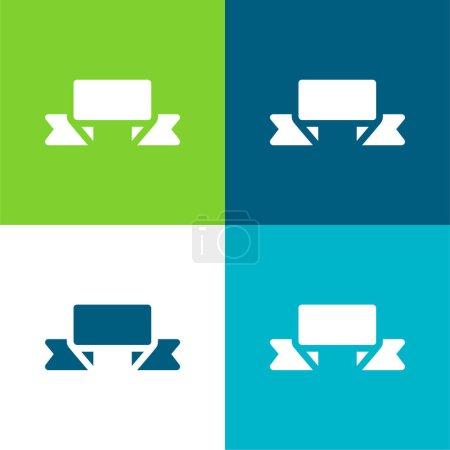 Illustration pour Bannière Ensemble d'icônes minimal plat quatre couleurs - image libre de droit