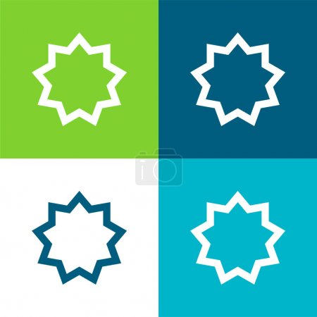 Photo for Bah    Flat four color minimal icon set - Royalty Free Image