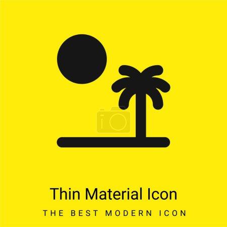 Illustration pour Plage minimaliste jaune vif icône matérielle - image libre de droit