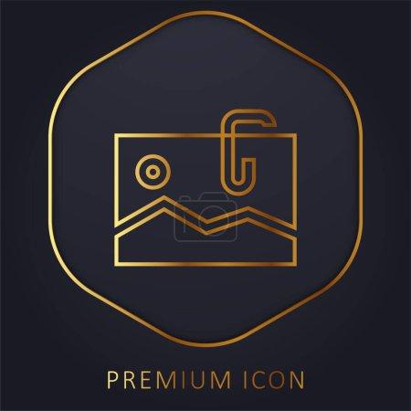 Illustration pour Ligne d'or attachée logo premium ou icône - image libre de droit