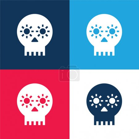 Artisanal Skull Of Mexico blue and red four color minimal icon set