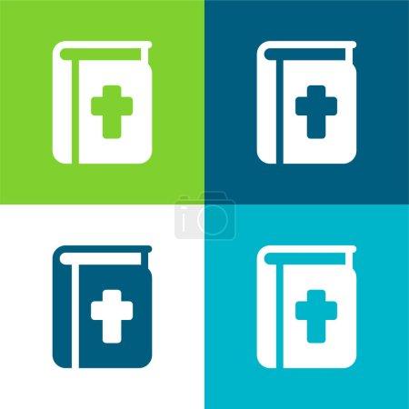 Photo pour Bible Ensemble d'icônes minimal plat quatre couleurs - image libre de droit