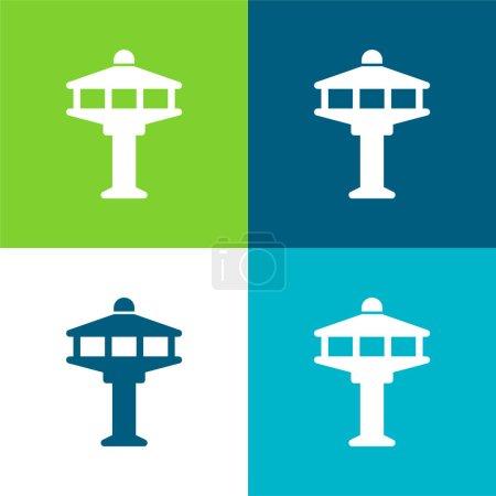 Illustration pour Tour de l'aéroport Ensemble d'icônes minime quatre couleurs - image libre de droit