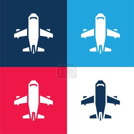 Illustration pour Avion bleu et rouge quatre couleurs minimum icône ensemble - image libre de droit