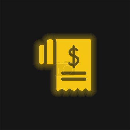 Illustration pour Icône néon brillant Bill jaune - image libre de droit