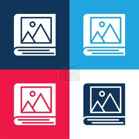 Illustration pour Album bleu et rouge ensemble d'icônes minimes quatre couleurs - image libre de droit