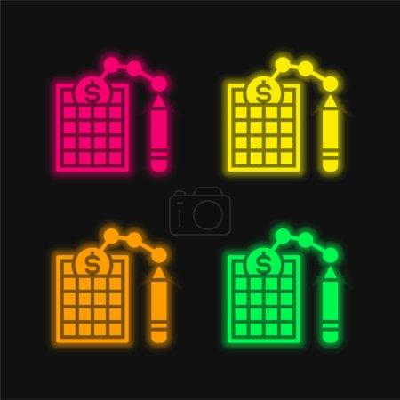 Illustration pour Bilan quatre couleurs rougeoyantes icône vectorielle néon - image libre de droit