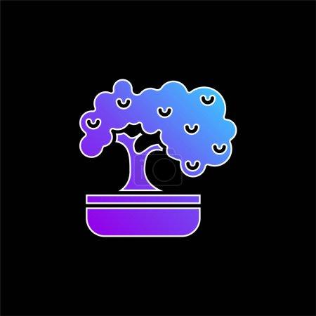 Illustration pour Icône vectorielle de dégradé bleu bonsaï - image libre de droit