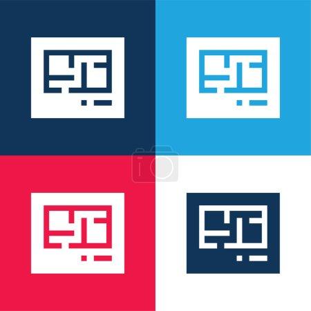 Illustration pour Blueprint bleu et rouge quatre couleurs minimum jeu d'icônes - image libre de droit