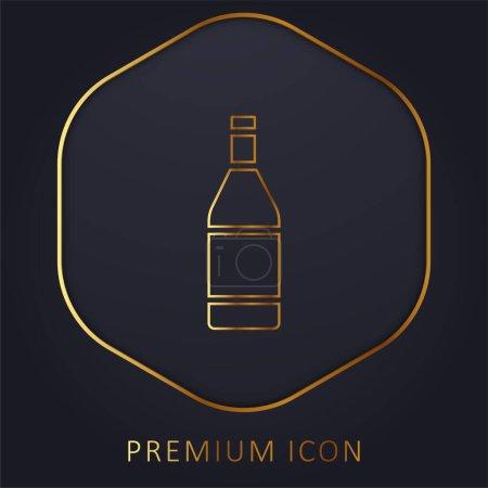 Illustration pour Bouteille ligne d'or logo premium ou icône - image libre de droit