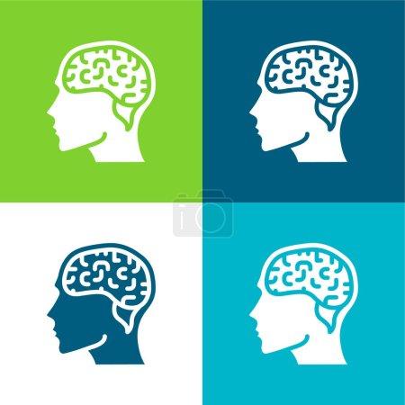 Brain Flat four color minimal icon set
