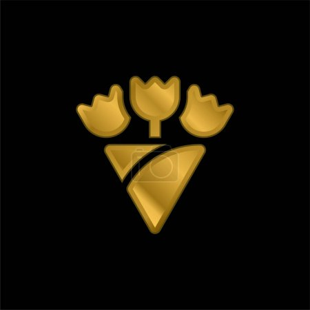 Illustration for Bouquet gold plated metalic icon or logo vector - Royalty Free Image