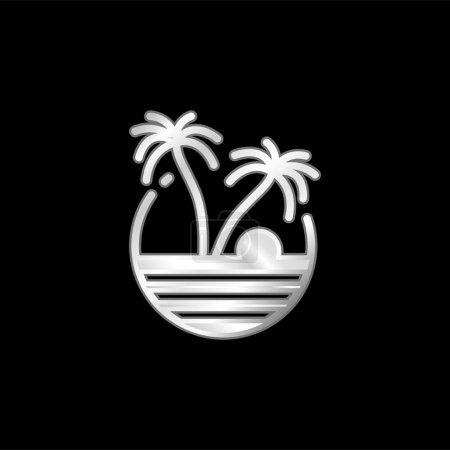 Plaża posrebrzana ikona metaliczna