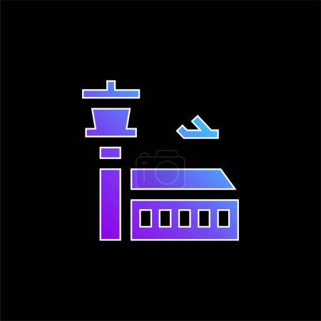 Photo pour Icône vectorielle dégradé bleu aéroport - image libre de droit