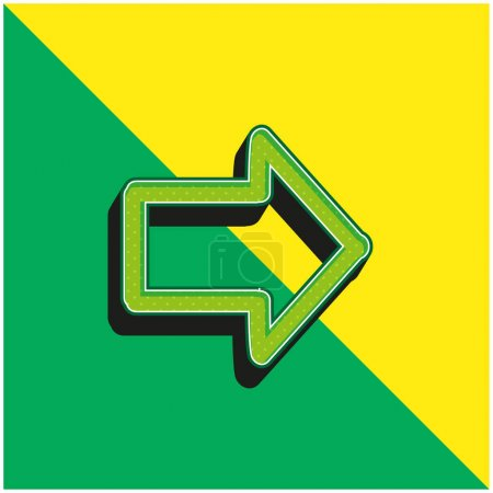 Illustration pour Flèche pointant vers la droite Dessiné Symbole Vert et jaune moderne icône vectorielle 3d logo - image libre de droit