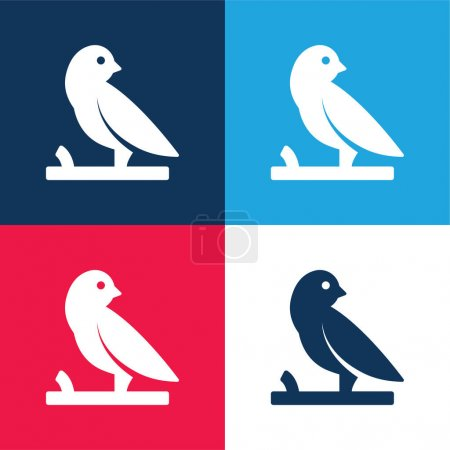 Bird On A Branch blue and red four color minimal icon set