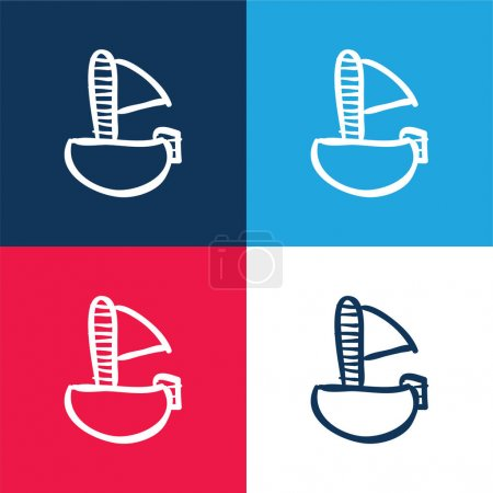 Boat Of Toy blue and red four color minimal icon set