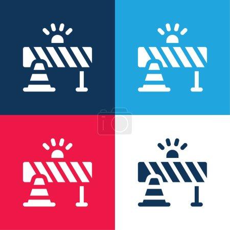 Photo pour Barricade bleu et rouge ensemble d'icônes minimes quatre couleurs - image libre de droit