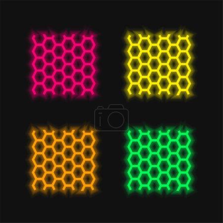 Photo pour Texture du panneau d'abeilles icône vectorielle néon éclatante de quatre couleurs - image libre de droit