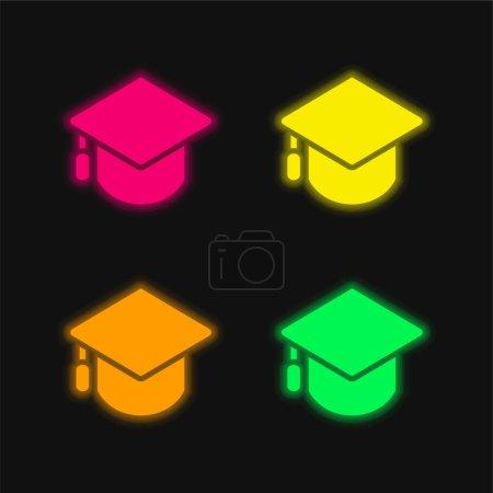 Big Mortarboard four color glowing neon vector icon