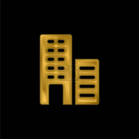 Illustration for Apartments gold plated metalic icon or logo vector - Royalty Free Image