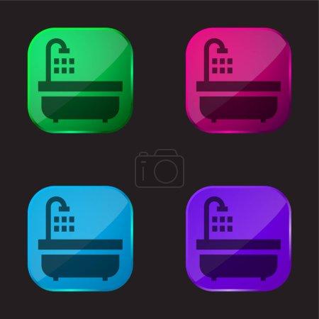 Bathtub four color glass button icon