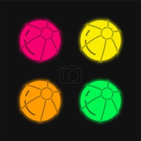 Photo pour Icône vectorielle néon rayonnante à quatre couleurs - image libre de droit