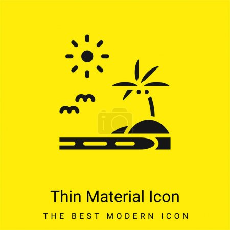 Illustration for Beach minimal bright yellow material icon - Royalty Free Image
