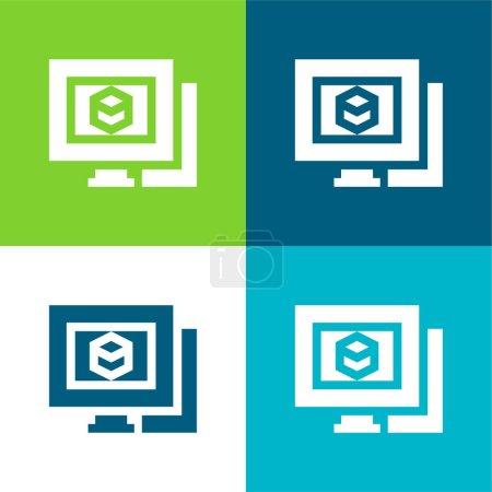 Illustration pour Modélisation 3d Ensemble d'icônes minime plat à quatre couleurs - image libre de droit