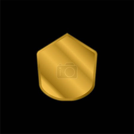 Illustration pour Icône métallique plaqué or de forme polygonale noire ou vecteur de logo - image libre de droit