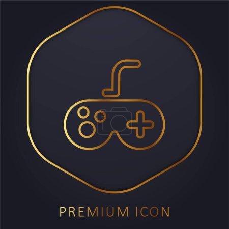Illustration pour Antique Gamepad ligne d'or logo premium ou icône - image libre de droit