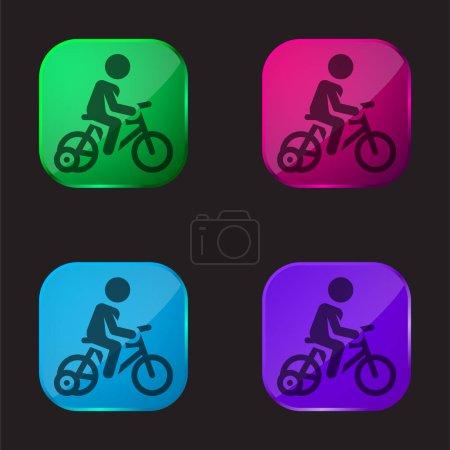 Photo pour Bicyclette icône bouton en verre quatre couleurs - image libre de droit