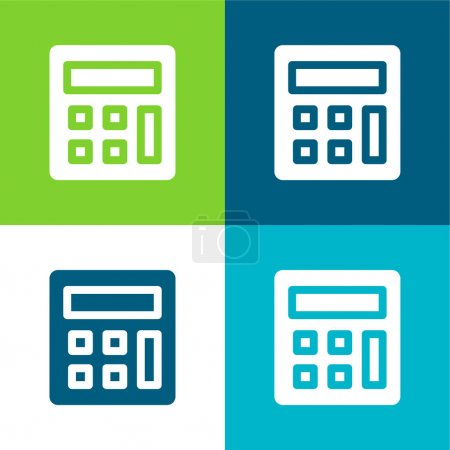 Accounting Flat four color minimal icon set