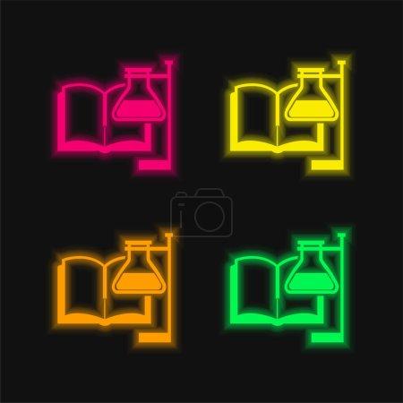 Illustration pour Livre et tube à essai avec support quatre couleur brillant icône vectorielle néon - image libre de droit