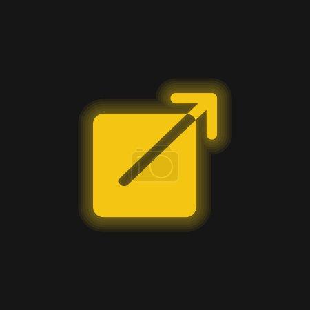 Illustration pour Bouton carré noir avec une flèche pointant vers le haut à droite jaune brillant icône néon - image libre de droit