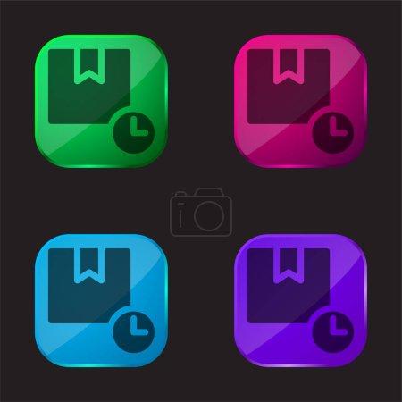 Illustration pour Boîte quatre icône bouton en verre de couleur - image libre de droit