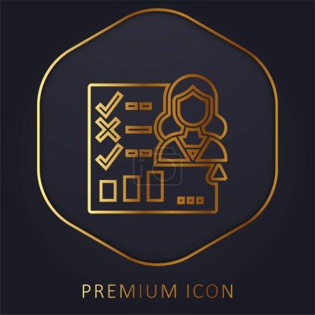 Illustration pour Formulaire d'évaluation ligne d'or logo premium ou icône - image libre de droit