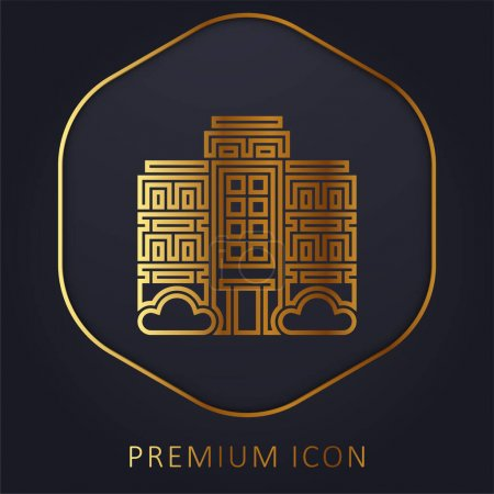 Illustration for Apartment golden line premium logo or icon - Royalty Free Image
