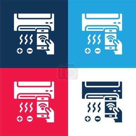 Aire acondicionado azul y rojo conjunto de iconos mínimo de cuatro colores