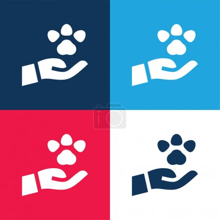 Illustration pour Ensemble d'icônes minime bleu animal et rouge quatre couleurs - image libre de droit