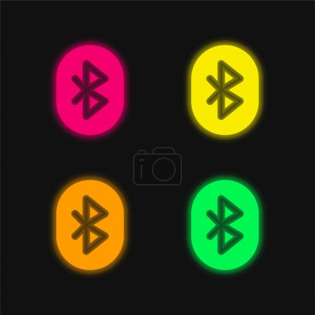 Illustration for Bluetooth four color glowing neon vector icon - Royalty Free Image