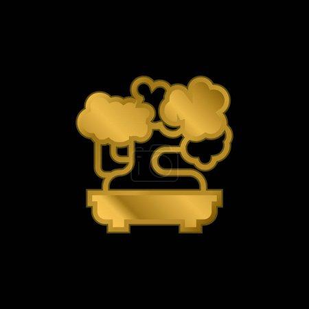 Illustration pour Bonsaï plaqué or icône métallique ou logo vecteur - image libre de droit
