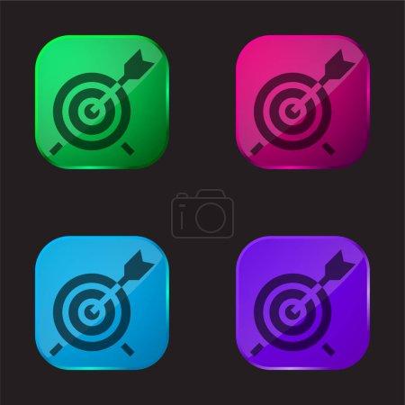 Illustration pour Flèche quatre icône de bouton en verre de couleur - image libre de droit