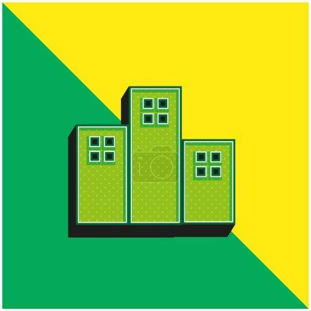 Photo pour Appartements Bâtiments Logo vectoriel 3d moderne vert et jaune - image libre de droit