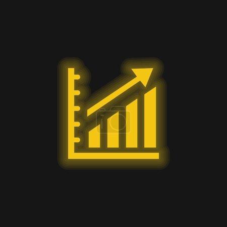 Illustration pour Statistiques ascendantes Icône néon jaune vif graphique - image libre de droit
